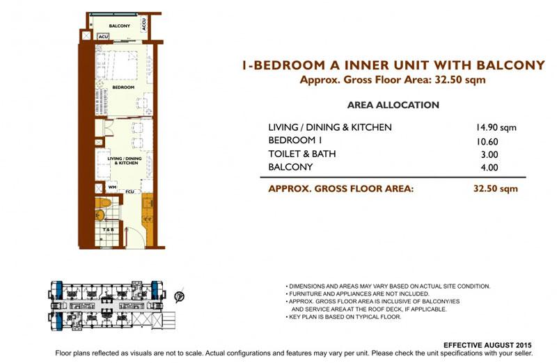 Fairway Terraces 1 Bedroom Layout