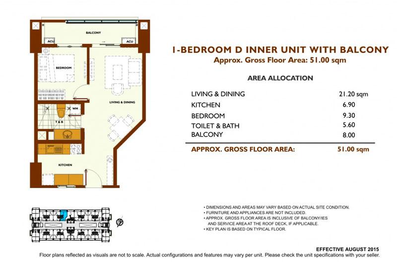 Fairway Terraces 1 Bedroom D Layout
