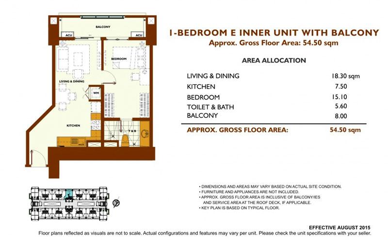 Fairway Terraces 1 Bedroom E Layout
